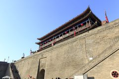 Grandiose city gate tower inside, adobe rgb. Xian ancient city, shaanxi province, china. xian wall is chinese largest existing and most preserved ancient city Royalty Free Stock Image