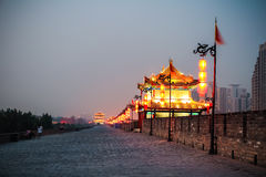Xian ancient city wall at night Royalty Free Stock Photography