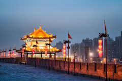 Xian ancient tower in nightfall Stock Photography
