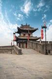 Ancient turret on city wall in xian. Xian ancient turret on city wall,China Royalty Free Stock Photography