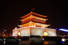 Xian Bell Tower. Bell tower in Xian at night with beautiful light as decoration Royalty Free Stock Photography