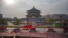 Xian Bell Tower Heavy Traffic Timelapse stock footage
