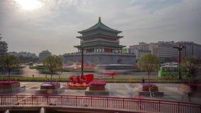 Xian Bell Tower Heavy Traffic Timelapse stock footage