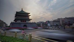 Xian Bell Tower Heavy Traffic Timelapse stock video footage