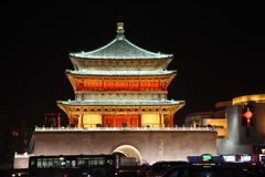 Xian Bell Tower Night Arkivfoton