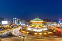 Xian Bell Tower Night Royaltyfria Foton