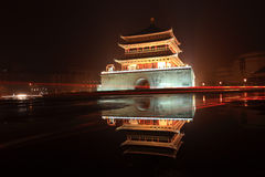 Xian bell tower in night after rain Stock Photography