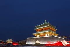 Xian Bell- u. Trommel-Turm an der Dämmerung Lizenzfreies Stockbild