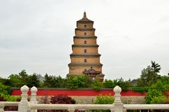 Xian Big Wild Goose Pagoda. Big Wild Goose Pagoda is a well-preserved ancient building and a holy place for Buddhists. It is located in the southern suburb of Royalty Free Stock Image