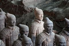 Detail of Terracotta Warriors near the city of Xian in China stock photo