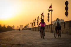 XIAN, CHINA - MARCH 13 2016: People ride at City Wall of Xi'an i Royalty Free Stock Photos