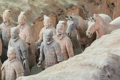 XIAN, CHINA - MAY 24, 2018: The Terracotta Army warriors at the. Tomb of China's First Emperor in Xian. Unesco World Heritage site royalty free stock images