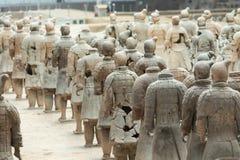 XIAN, CHINA - MEI 24, 2018: De strijders van het Terracottaleger bij stock foto