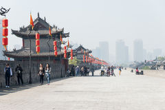 XIAN, CHINA - OCT 23 2014: City Wall of Xi'an. a famous Historic Royalty Free Stock Photography