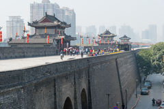 XIAN, CHINA - OCT 23 2014: City Wall of Xi'an. a famous Historic Royalty Free Stock Photo