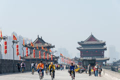 XIAN, CHINA - OCT 23 2014: Visitor at City Wall of Xi'an. a famo Stock Photo
