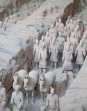 Terracotta army. XIAN, CHINA - October 8, 2017: Famous Terracotta Army in Xi'an, China. The mausoleum of Qin Shi Huang, the first Emperor of China contains Stock Photo