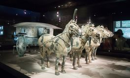 Terracotta army. XIAN, CHINA - October 8, 2017: Famous Terracotta Army in Xi'an, China. The mausoleum of Qin Shi Huang, the first Emperor of China contains royalty free stock image