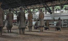 Terracotta Army. Clay soldiers of the Chinese emperor. XIAN, CHINA - October 29, 2017: Terracotta Army. Clay soldiers of the Chinese emperor. Sculptures of the stock photography