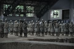 Terracotta Army. Clay soldiers of the Chinese emperor. XIAN, CHINA - October 29, 2017: Terracotta Army. Clay soldiers of the Chinese emperor. Sculptures of the stock images
