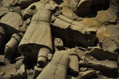 Terracotta Army. Clay soldiers of the Chinese emperor. XIAN, CHINA - October 29, 2017: Terracotta Army. Clay soldiers of the Chinese emperor. Sculptures of the stock image