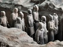 Terracotta Army. Clay soldiers of the Chinese emperor royalty free stock photography