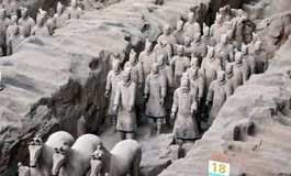 Terracotta Army. Clay soldiers of the Chinese emperor. XIAN, CHINA - October 29, 2017: Terracotta Army. Clay soldiers of the Chinese emperor. Sculptures of the royalty free stock photo