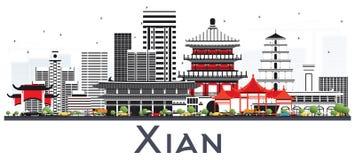 Xian China Skyline avec des bâtiments de couleur d'isolement sur le blanc illustration de vecteur
