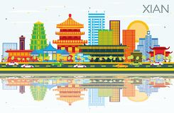 Xian China Skyline with Color Buildings, Blue Sky and Reflection. S. Vector Illustration. Business Travel and Tourism Concept with Historic Architecture. Xian stock illustration
