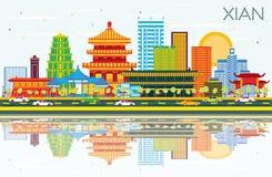 Xian China Skyline met Kleurengebouwen, Blauwe Hemel en Bezinning stock illustratie