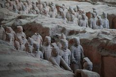 Xian, China: Some terracotta soldiers of the Terracotta Army, part of the Mausoleum of the First Qin Emperor. Xian, Shaanxi, China - 08 12 2016: Some terracotta royalty free stock image