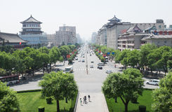 Xian, China. Urban view of city center of Xian, China with modern and historical buildings Royalty Free Stock Photos