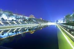 xian circumvallation夜视域的护城河 免版税库存照片