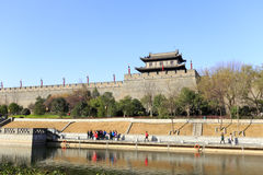 The Xian circumvallation with moat in winter. Xian ancient city, shaanxi province, china. xian wall is chinese largest existing and most preserved ancient city royalty free stock photography
