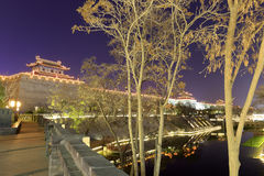 Xian-circumvallation Nachtsichtgerät, luftgetrockneter Ziegelstein rgb Stockbild