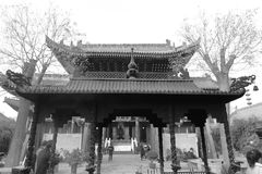 Pavilion of xian chenghuangmiao temple, black and white image Stock Images