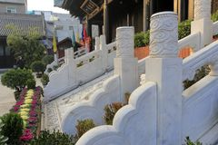 The white marble stone steps and cloud dragon stone carving of xian chenghuangmiao temple, adobe rgb. Xian city god temple is one of chinese biggest three major Royalty Free Stock Image