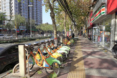 Xian city public bicycles in winter Royalty Free Stock Photos