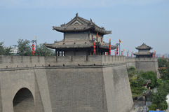 Xian City Wall and Buildings Royalty Free Stock Photos
