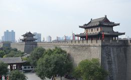 Xian City Wall and Buildings Royalty Free Stock Image