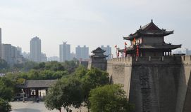 Xian City Wall and Buildings Stock Photo