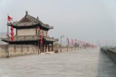 Xian City Wall China in nebbia Immagine Stock Libera da Diritti