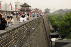 Xian City Wall Chinese Tourists Foto de archivo