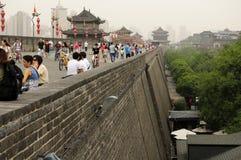 Xian City Wall Chinese Tourists Foto de archivo