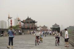 Xian City Wall Chinese Tourists Imágenes de archivo libres de regalías