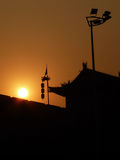 Xian city wall silhouette sunset. Xian city wall at sunset royalty free stock image