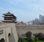 Xian City Wall and Watchtower Royalty Free Stock Photos