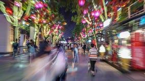 Xian DaTang-de straatnacht steekt timelapse aan stock footage