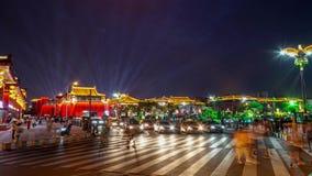 Xian DaTang-Straßennacht beleuchtet beschäftigtes Straße timelapse stock video footage