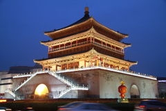 The Xian Drum Tower. Drum Tower at night xi'an of china Royalty Free Stock Photo